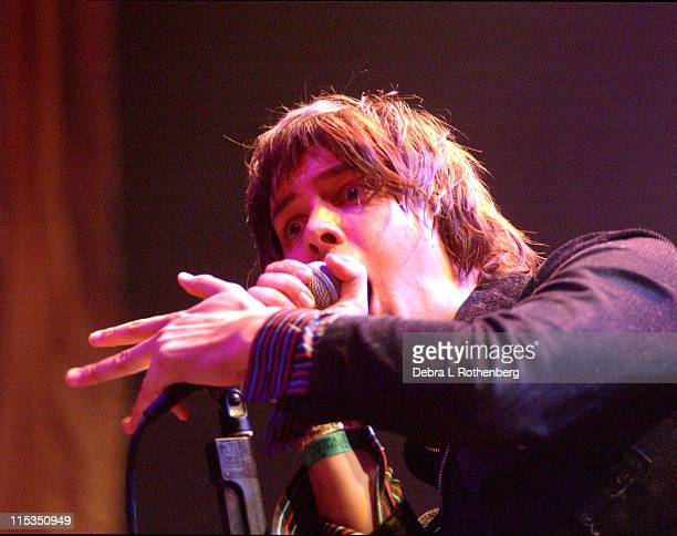 Julian Casablancas of the Strokes during The Strokes In Concert at Radio City Music Hall in New York City New York United States