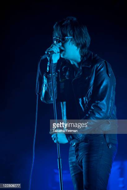 Julian Casablancas of The Strokes headlines the Main Stage during day two of Reading Festival at Richfield Avenue on August 27, 2011 in Reading,...