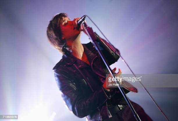 Julian Casablancas of The Strokes performs at the Natural History Museum on July 6 2006 in London England