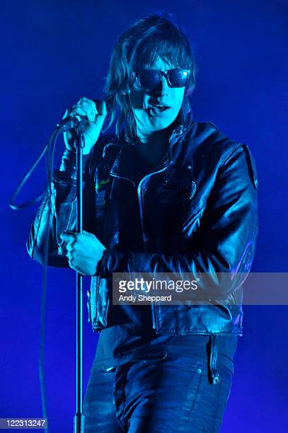 Julian Casablancas of The Strokes performs on stage during Day 2 of Reading Festival 2011 at Richfield Avenue on August 27, 2011 in Reading, United...