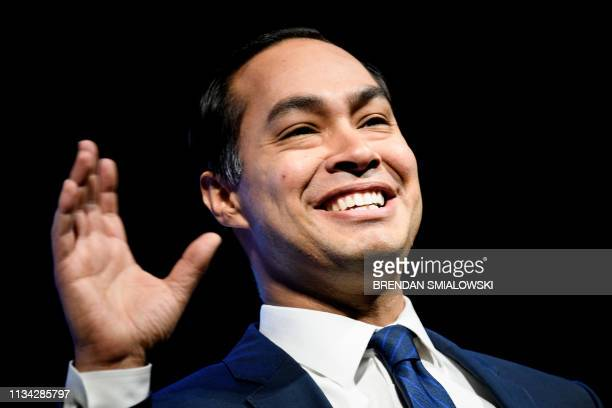 Julian Castro a 2020 US presidential hopeful speaks during the We the People gathering at the Warner Theatre on April 1 in Washington DC