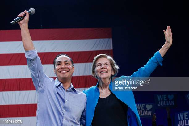 Julian Castro and Senator Elizabeth Warren attend a rally on January 7 2020 in New York City After dropping out of the presidential race former HUD...