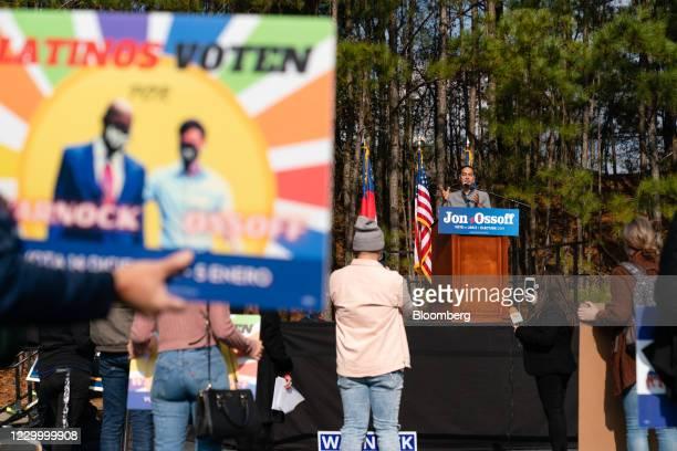 Julian Castro, former secretary of Housing and Urban Development , center, speaks during a campaign event for Democratic Senate candidate Jon Ossoff...