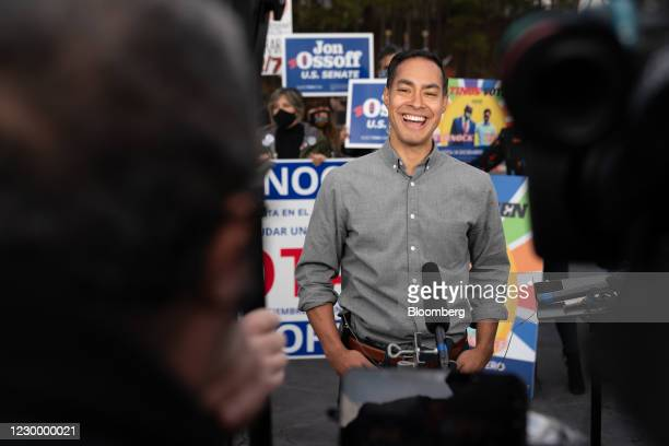 Julian Castro, former secretary of Housing and Urban Development , smiles during a television interview at a campaign event for Democratic Senate...