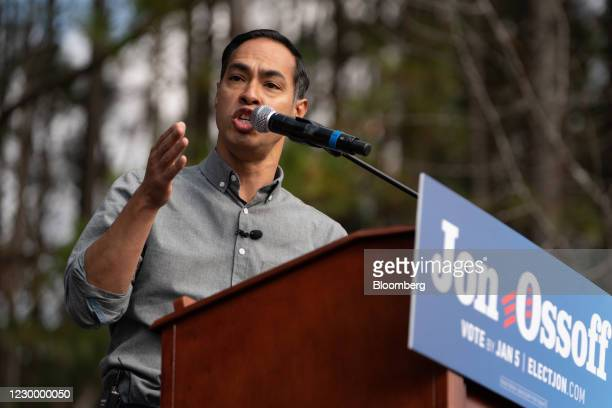 Julian Castro, former secretary of Housing and Urban Development , speaks during a campaign event for Democratic Senate candidate Jon Ossoff in...