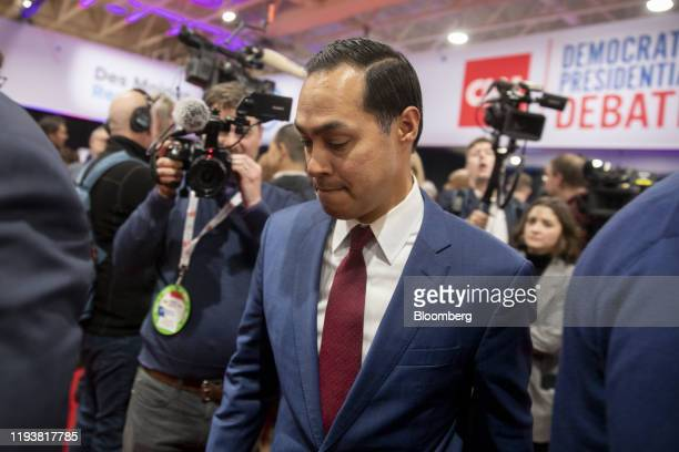 Julian Castro, former secretary of Housing and Urban Development , walks through the spin room following the Democratic presidential debate in Des...