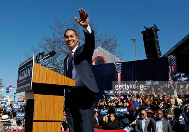 Julian Castro former US Department of Housing and Urban Development Secretary and San Antonio Mayor announces his candidacy for president in 2020 at...