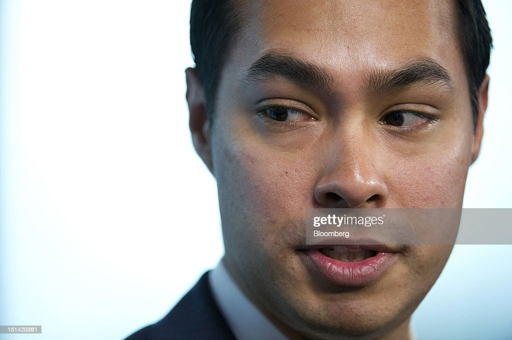 """Julian Castro, mayor of San Antonio, speaks during a panel discussion titled: 'City Innovation and American Transformation' inside the Bloomberg Link during day three of the Democratic National Convention (DNC) in Charlotte, North Carolina, U.S., on Thursday, Sept. 6, 2012. Four years after the nation made history by electing him the first African-American president, Barack Obama asked for a second term with a pledge to keep rebuilding a battered economy in a way that """"may be harder but it leads to a better place."""" Photographer: David Paul Morris/Bloomberg via Getty Images"""