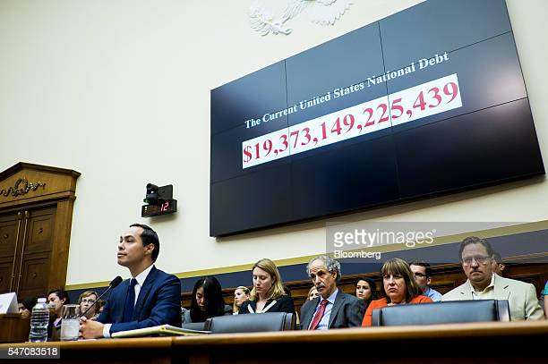 Julian Castro secretary of US Housing and Urban Development listens during a House Financial Services Committee hearing in Washington DC US on...