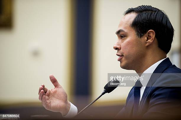 Julian Castro secretary of US Housing and Urban Development speaks during a House Financial Services Committee hearing in Washington DC US on...