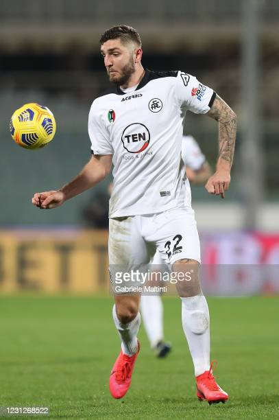 Julian Chabot of Spezia Calcio in action during the Serie A match between ACF Fiorentina and Spezia Calcio at Stadio Artemio Franchi on February 19,...