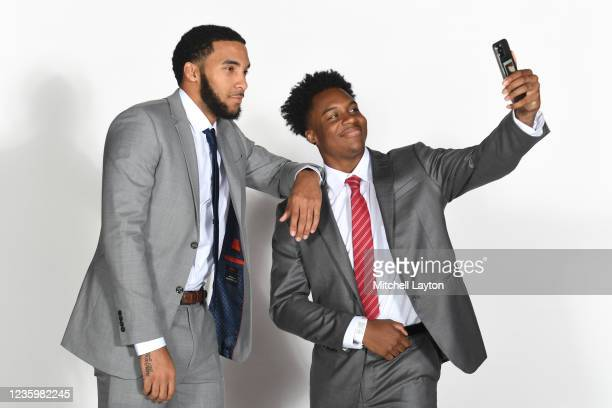 Julian Champagmie and Stef Smith of the St. Johns Red Storm pose for a photo during the Big East Media Day at Madison Square Garden on October 19,...
