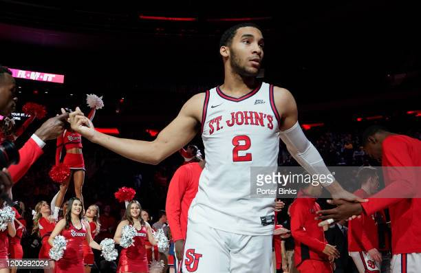Julian Champagnie of the St. John's Red Storm during pre-game introductions before the game against the West Virginia Mountaineers at Madison Square...