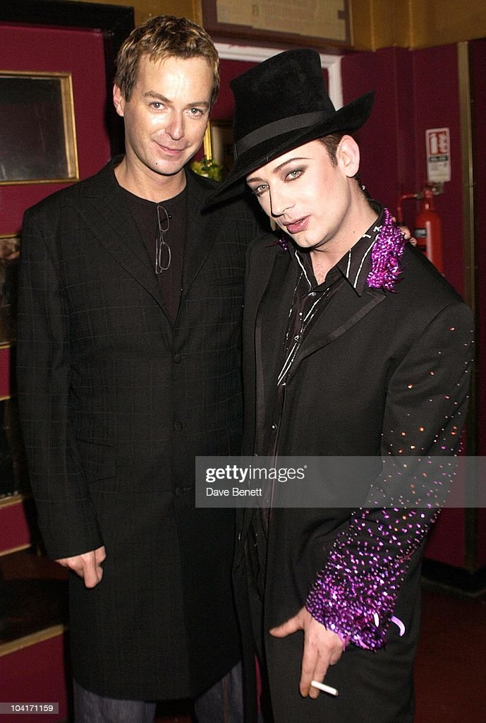 Julian Clarey And Boy George, Special Charity Preview Of Boy George's New Musical 'Taboo' In Aid Of The Mercury Phoenix Trust And The Child Welfare Society. At The Venue In Leicester Square, London And Then The Party At Soho House.