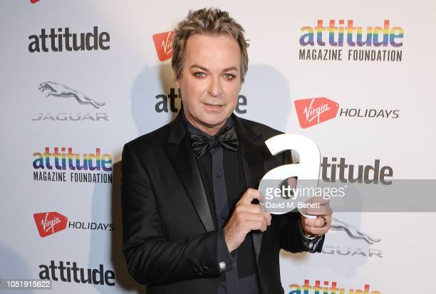 Julian Clary poses in the winners room at The Virgin Holidays Attitude Awards at The Roundhouse on October 11 2018 in London England