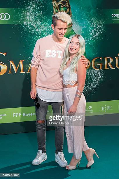 Julian Classen and Bibis Beauty Palace attend the 'Smaragdgruen' German Premiere on June 28 2016 in Cologne Germany