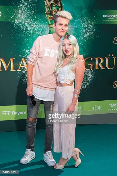 Julian Classen and Bibis Beauty Palace attend the 'Smaragdgruen' German Premiere on June 28, 2016 in Cologne, Germany.