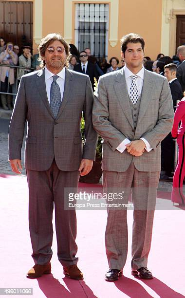 Julian Contreras and Julian Contreras jr attend the wedding of Cayetano Rivera and Eva Gonzalez at Mairena del Alcor on November 6 2015 in Seville...