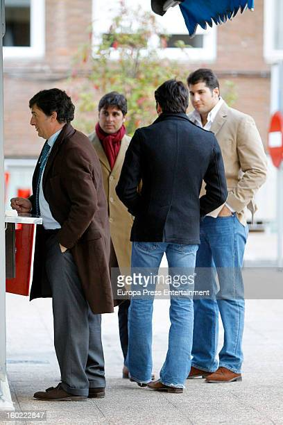 Julian Contreras jr celebrates his 26th birthday with his brothers Francisco Rivera and Cayetano Rivera on January 14 2013 in Madrid Spain