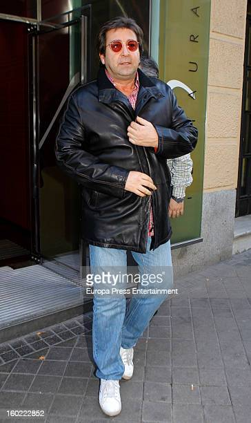 Julian Contreras jr celebrates his 26th birthday with his father Julian Contreras on January 14 2013 in Madrid Spain