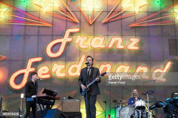 Julian Corrie Alex Kapranos and Paul Thomson of Franz Ferdinand perform at the BBC 6Music Biggest Weekend at Titanic Slipways on May 26 2018 in...