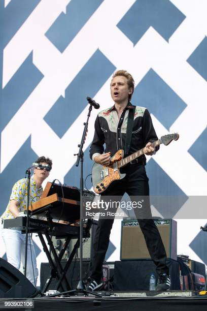 Julian Corrie and Alex Kapranos of Franz Ferdinand perform on stage during TRNSMT Festival Day 5 at Glasgow Green on July 8 2018 in Glasgow Scotland