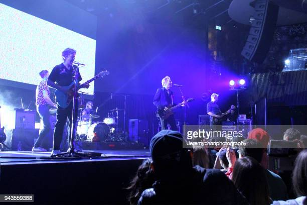 Julian Corrie Dino Bardot Paul Thomson Bob Hardy and Alex Kapranos of Franz Ferdinand performs at REBEL on April 8 2018 in Toronto Canada