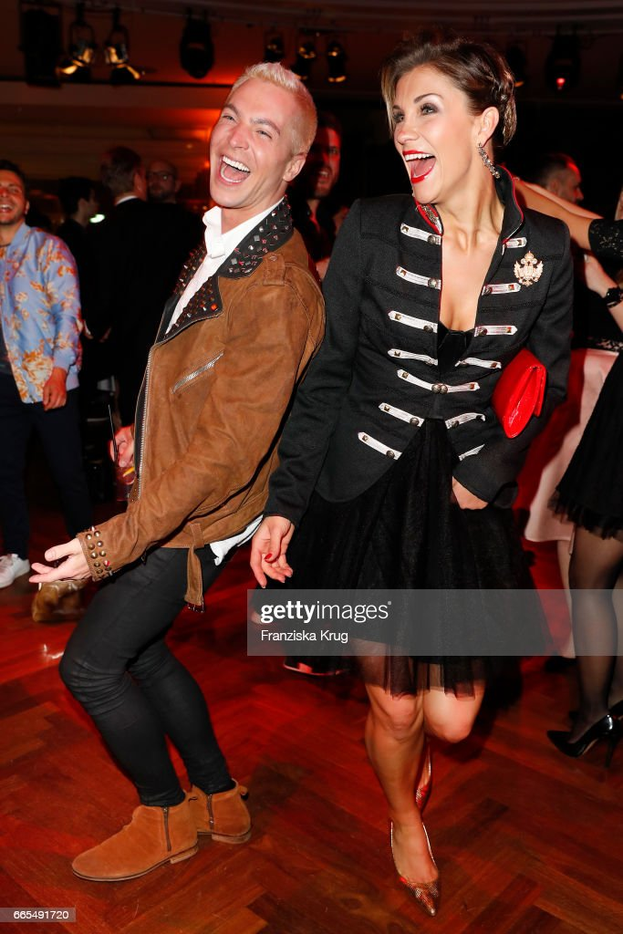 Julian David and Anna-Maria Zimmermann attend the Echo award after show party on April 6, 2017 in Berlin, Germany.