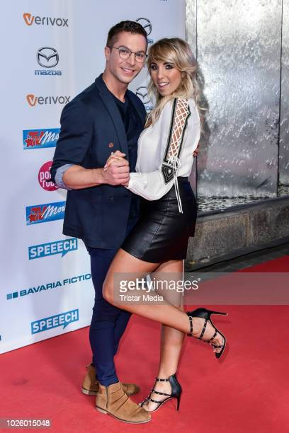 Julian David and Annemarie Eilfeld during the Mazda Entertainment Night at Sheraton Berlin Grand Hotel Esplanade on August 31, 2018 in Berlin,...