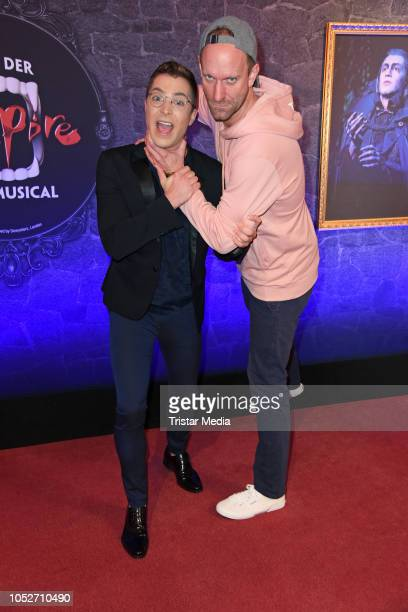 Julian David and Daniel Termann attend the musical premiere of 'Tanz der Vampire' at Theater des Westens on October 21 2018 in Berlin Germany