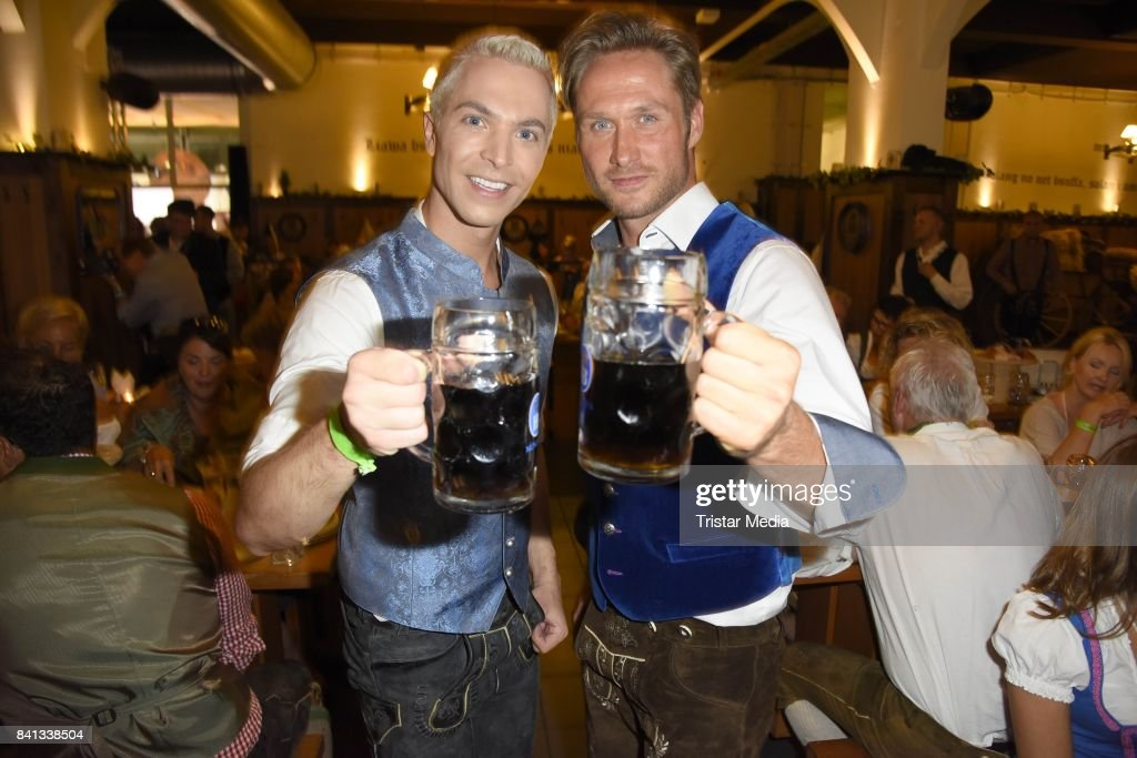 Julian David and Nico Schwanz during the Angermaier Trachten-Nacht at Hofbraeuhaus on August 31, 2017 in Berlin, Germany.