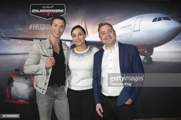 Julian David Lina van de Mars and CEO mydays Fabian Stich during the mydays Erlebniswerk opening on March 1 2018 in Berlin Germany