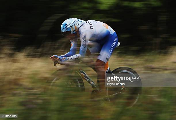 Julian Dean of New Zealand and the Garmin Chipotle team rides the stage 4 individual time trial from Cholet to Cholet during the 2008 Tour de France...