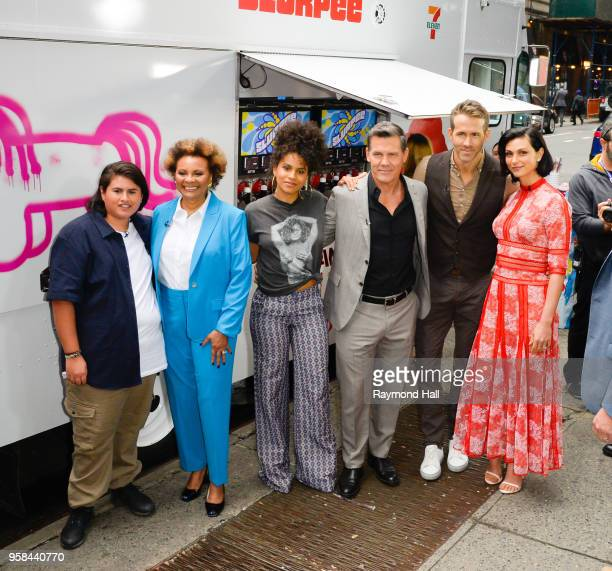 Julian Dennison Leslie Uggams Zazie Beetz Josh Brolin Ryan Reynolds Morena Baccarin are seen outside Good Morning Americaon May 14 2018 in New York...