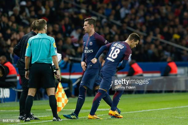 Julian Draxler and Giovani Lo Celso of PSG during the Ligue 1 match between Paris Saint Germain and Olympique Lyonnais at Parc des Princes on...