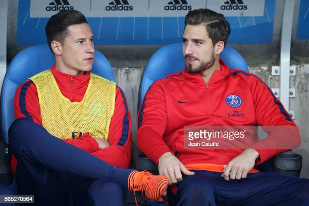 Julian Draxler and goalkeeper of PSG Kevin Trapp sit on the bench during the French Ligue 1 match between Olympique de Marseille and Paris Saint...