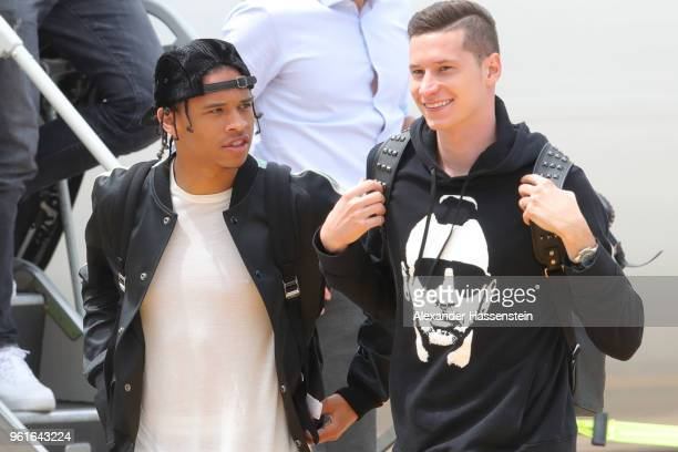 Julian Draxler and Leroy Sane arrives with the German National team at Bolzano Airport for the Southern Tyrol Training Camp ahead of the FIFA World...