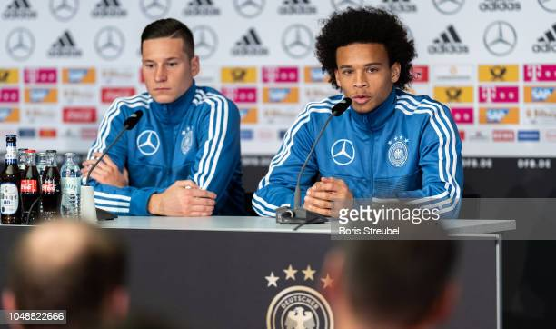 Julian Draxler and Leroy Sane of Germany talks to the media during a press conference of the German national team at MercedesBenz am Salzufer on...