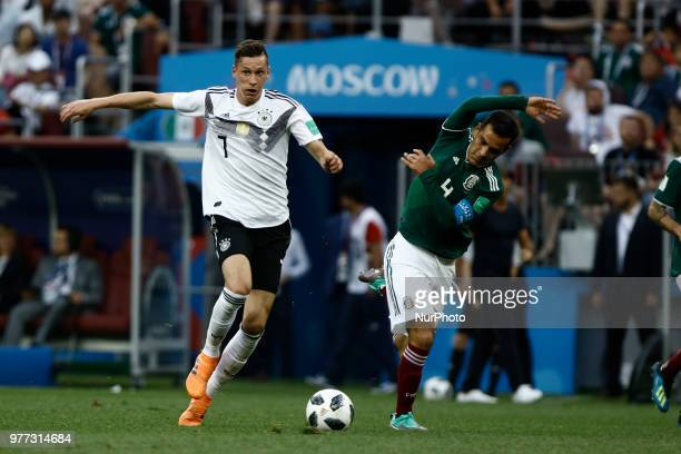 Julian Draxler and Rafael Marquez during the 2018 FIFA World Cup Russia group F match between Germany and Mexico at Luzhniki Stadium on June 17 2018...
