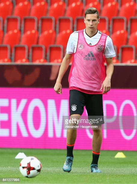 Julian Draxler attends a Germany training session at Eden Arena ahead of their FIFA World Cup Russia 2018 Group C Qualifier against Czech Republic on...