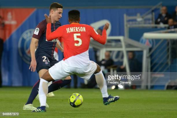 Julian Draxler forward of Paris SaintGermain during the Ligue 1 match between Paris Saint Germain and AS Monaco at Parc des Princes on April 15 2018...
