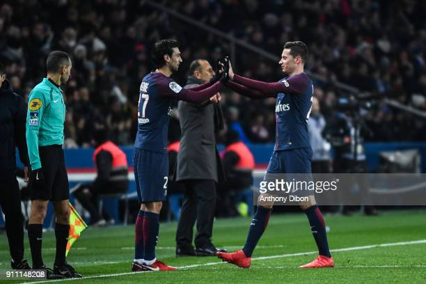Julian Draxler is replaced by Javier Pastore of PSG during the Ligue 1 match between Paris Saint Germain and Montpellier Herault SC at Parc des...
