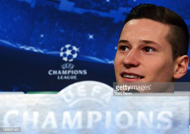 Julian Draxler is seen during a FC Schalke 04 press conference ahead of their UEFA Champions League round of 16 match against Galatasaray AS at...