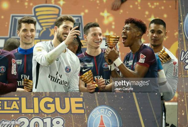 Julian Draxler Kevin Trapp Presnel Kimpembe of PSG celebrate the victory following the French League Cup final between Paris SaintGermain and AS...