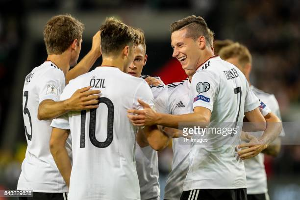 Julian Draxler of Germany celebrates after scoring his team`s goal during the FIFA 2018 World Cup Qualifier between Germany and Norway at...