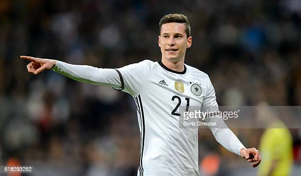 Julian Draxler of Germany gestures during the International Friendly match between Germany and Italy at Allianz Arena on March 29 2016 in Munich...