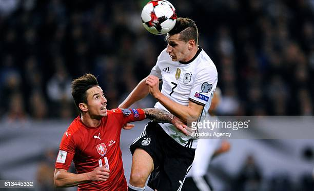 Julian Draxler of Germany in action against Milan Petrzela of Czech Republic during the UEFA 2018 World Cup Qualifying match between Germany and...