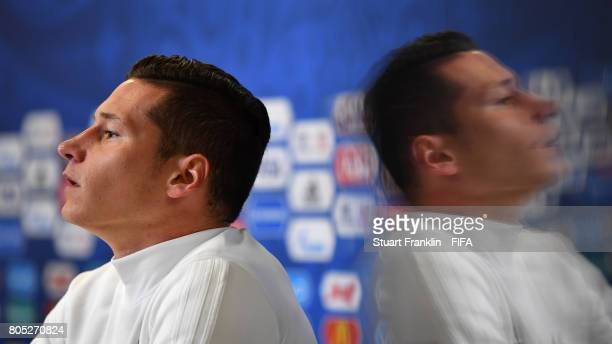 Julian Draxler of Germany looks on during a press conference of the German national football team on July 1 2017 in Saint Petersburg Russia