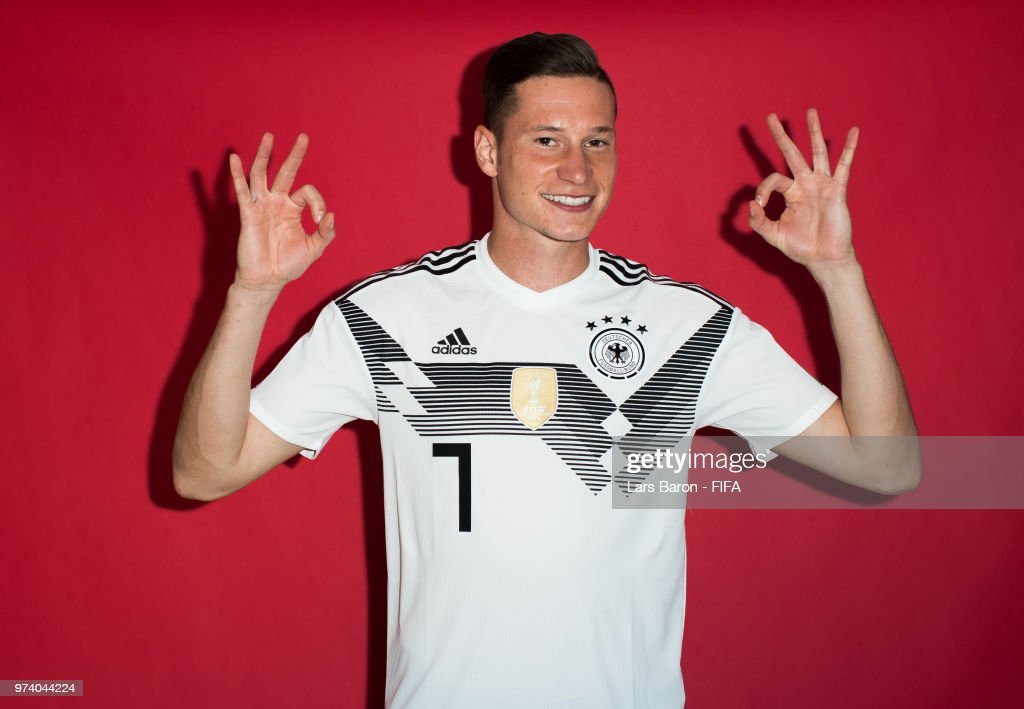 Julian Draxler of Germany poses for a portrait during the official FIFA World Cup 2018 portrait session on June 13, 2018 in Moscow, Russia.