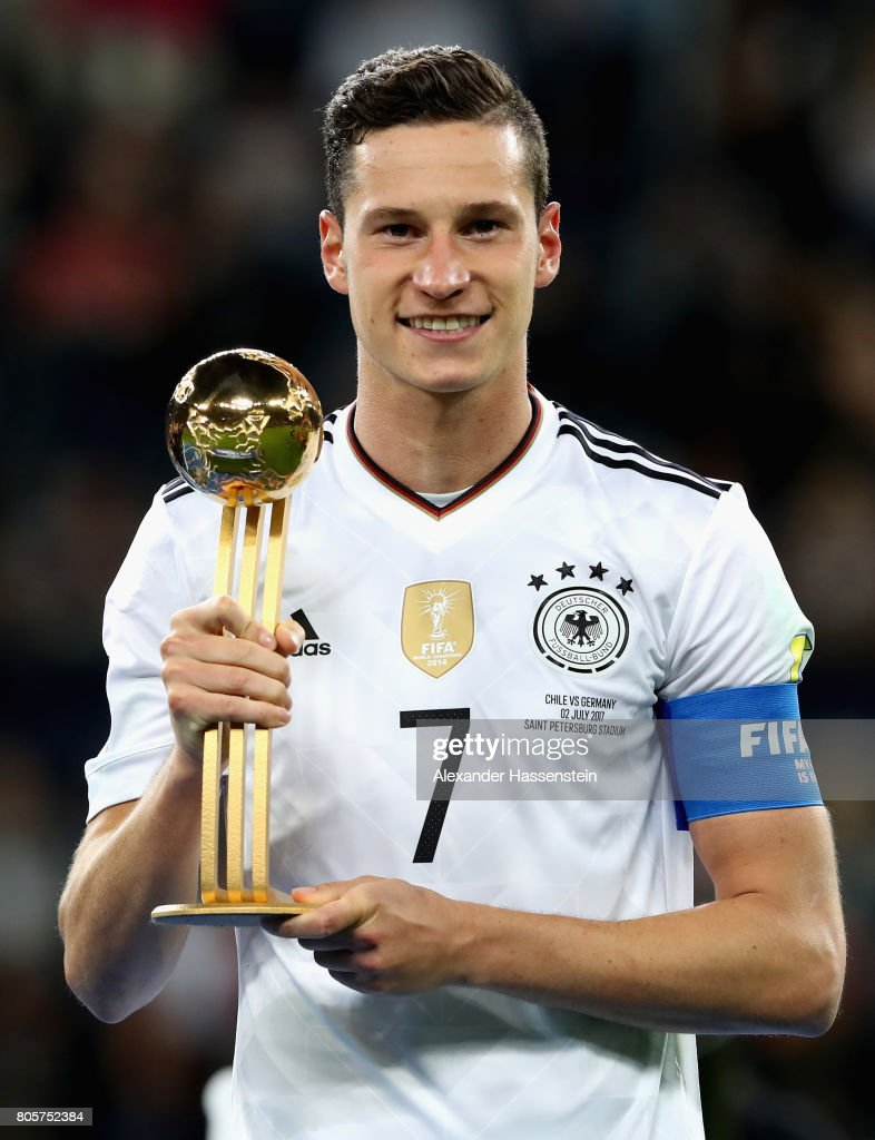 Julian Draxler of Germany poses with the golden ball award after the FIFA Confederations Cup Russia 2017 Final between Chile and Germany at Saint Petersburg Stadium on July 2, 2017 in Saint Petersburg, Russia.